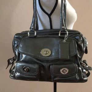 Coach Limited Edition Patent Peyton in Silver/Grey